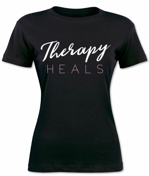 Therapy Heals T-Shirt (Pink Lettering)
